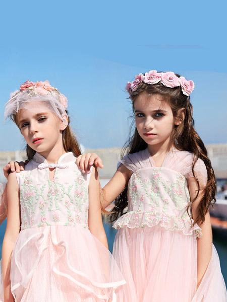 小象Q比童装品牌2020春夏复古汉服网纱粉色连衣裙