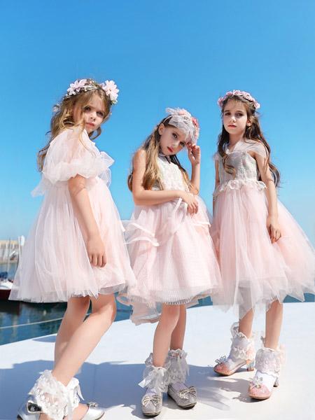 小象Q比童装品牌2020春夏泡泡袖粉色网纱连衣裙
