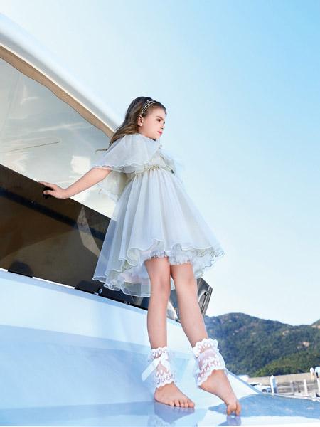 小象Q比童装品牌2020春夏浅灰色网纱连衣裙