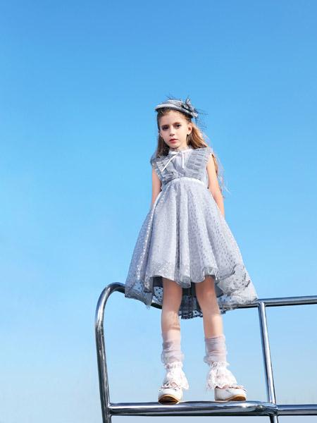 小象Q比童装品牌2020春夏无袖灰色网纱连衣裙