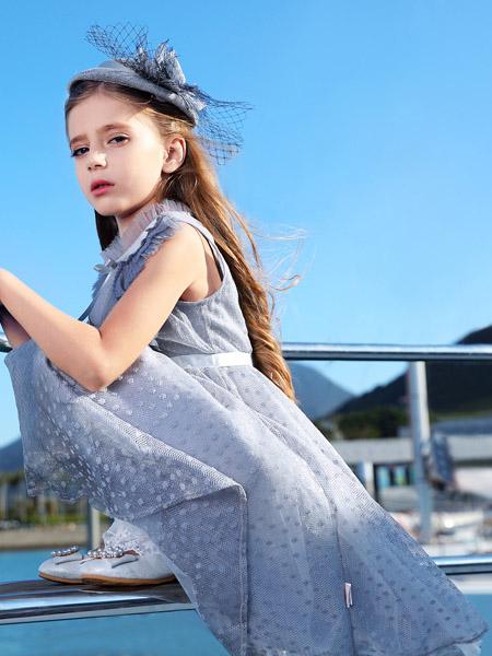 小象Q比童装品牌2020春夏无袖收腰灰色连衣裙