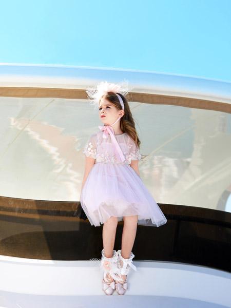 小象Q比童装品牌2020春夏浅紫色网纱连衣裙