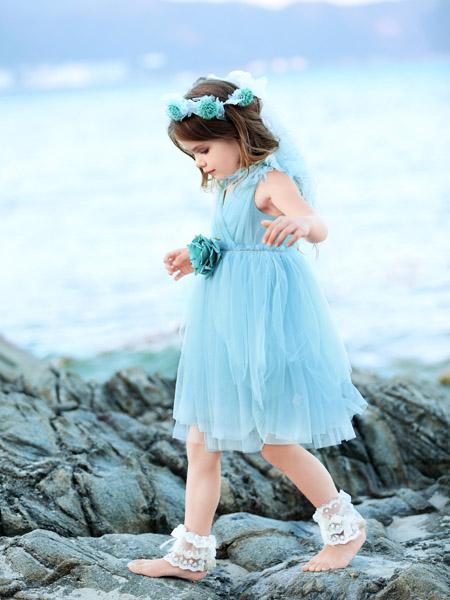 小象Q比童装品牌2020春夏无袖蓝色网纱连衣裙