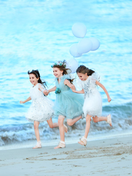 小象Q比童装品牌2020春夏白色网纱连衣裙