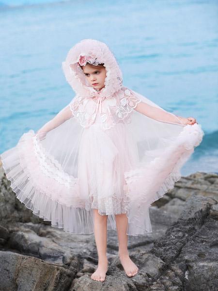 小象Q比童装品牌2020春夏粉色网纱连衣裙