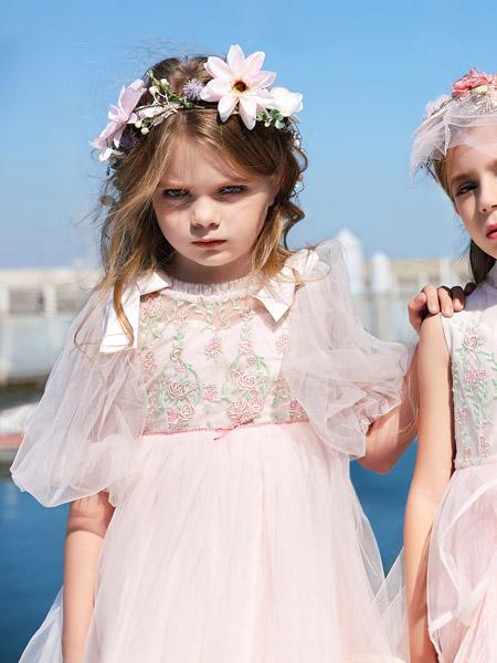 小象Q比童装品牌2020春夏泡泡袖网纱粉色连衣裙