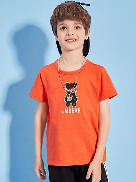 杰米熊童装品牌2020春夏男童宝宝短袖薄款小熊圆领时尚休闲T恤潮