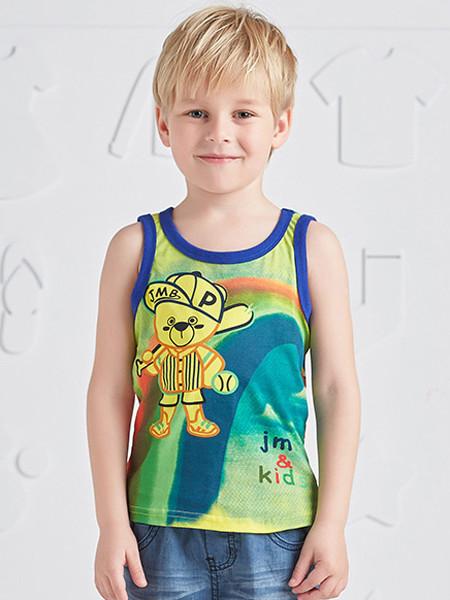 杰米熊童装品牌2020春夏通图案上衣男小童个性无袖休闲T恤