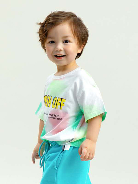 昕季雨童装品牌2020春夏圆领字母T恤绿色