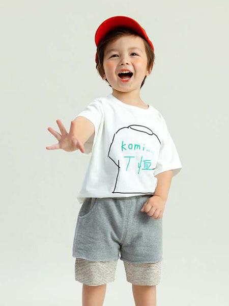 昕季雨童装品牌2020春夏圆领白色T恤灰色短裤