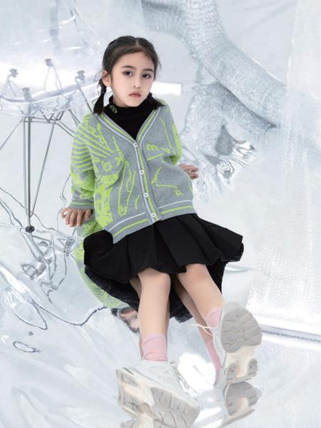 优仔优妹童装品牌2020秋冬绿灰色针织衫