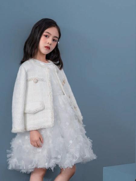 优仔优妹龙8品牌2020秋冬白色外套白色网纱连衣裙