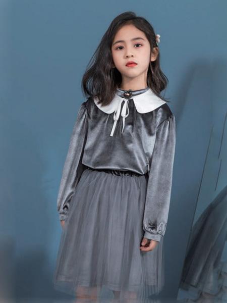 优仔优妹龙8品牌2020秋冬娃娃领深灰色网纱连衣裙