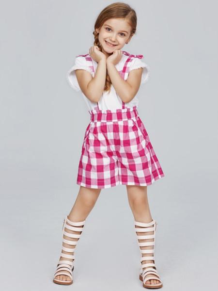 歌拉齐亚baby Graziella龙8品牌2020夏甜美女童粉色格子背带裤