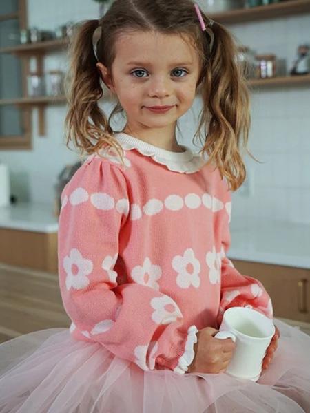 bebetailor童装品牌2020春花朵印花粉色上衣拼接网纱粉色裙