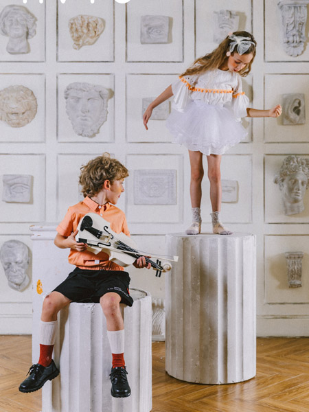 五月童品 mayosimple童装品牌2020春夏翻领浅橙色T恤