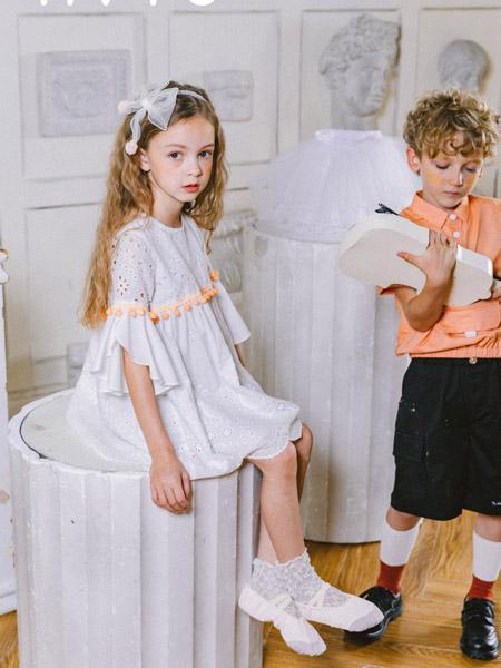 五月童品 mayosimple童装品牌2020春夏白色荷叶边连衣裙