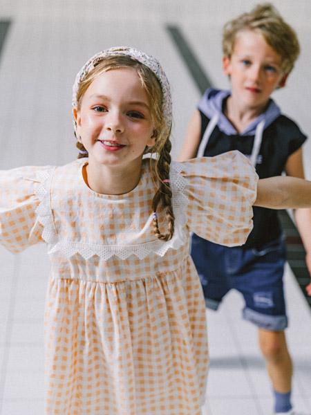 五月童品 mayosimple童装品牌2020春夏格纹方领连衣裙