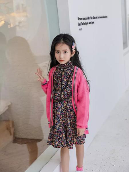 思贝秀童装品牌2020秋冬粉色针织衫中长款