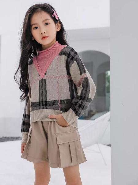 思贝秀童装品牌2020秋冬粉色领子米色针织衫