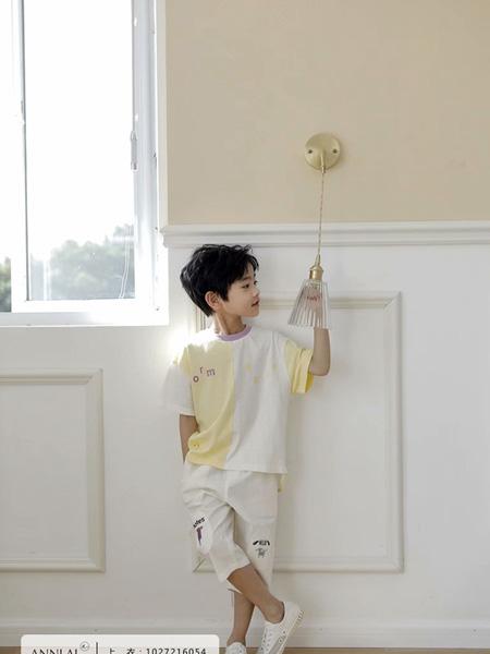 安黎小镇ANNLAI童装品牌2020春夏圆领颜色不对称黄色白色T恤
