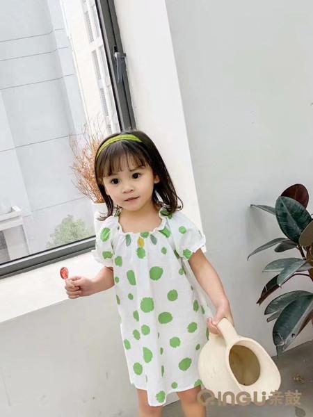 妈爱家童品童装品牌2020春夏波点女童小裙子