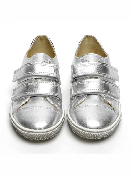Papouelli童鞋品牌2020春夏银色魔术贴板鞋