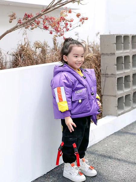 魔方童装品牌2020秋冬紫色连帽保暖外套