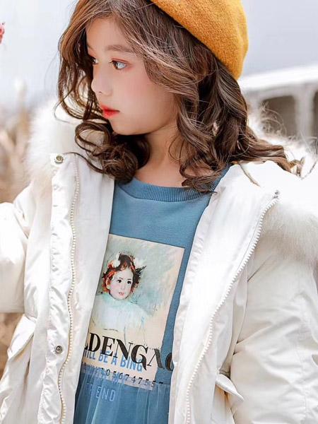 魔方童装品牌2020秋冬白色连帽毛绒外套