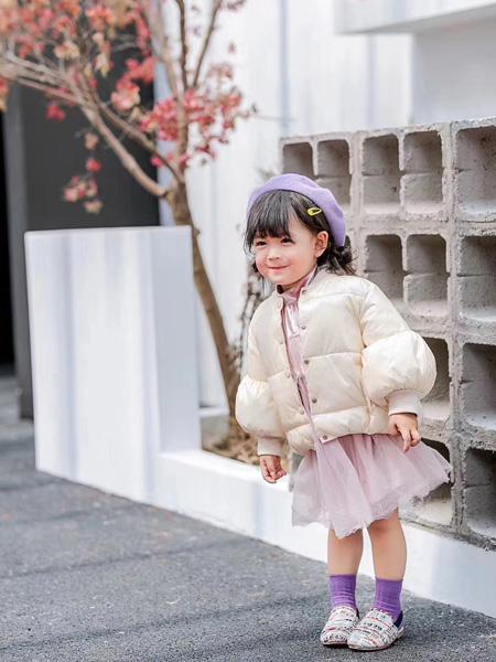 魔方童装品牌2020秋冬毛绒浅粉色外套网纱裙