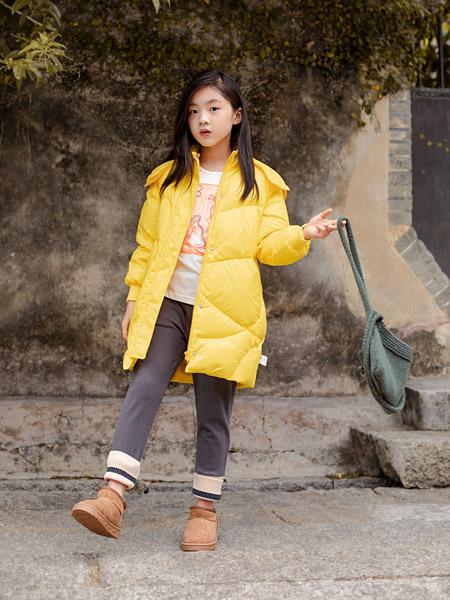棉绘童装品牌2020秋冬连帽黄色中长款外套