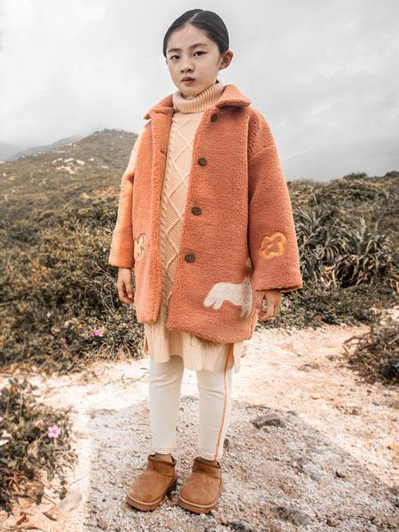 棉绘童装品牌2020秋冬毛绒橙色连帽外套