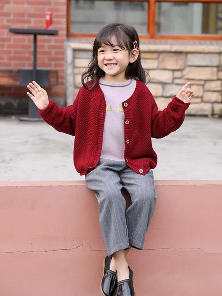 禾雀童装品牌2020秋冬酒红色针织衫外套