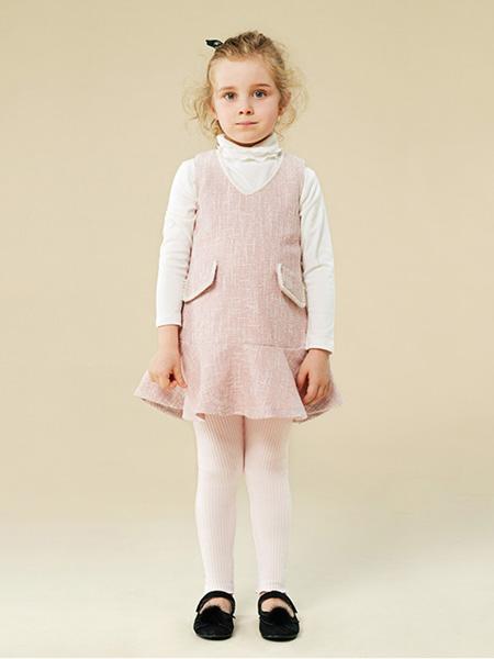 贝禾贝童装品牌2020秋冬甜美女童背带裙