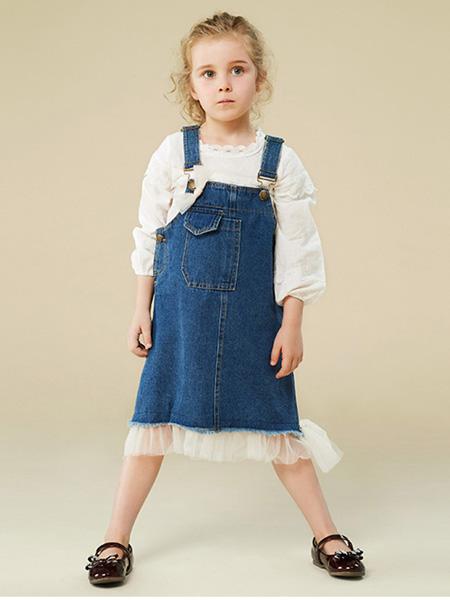 贝禾贝童装品牌2020秋冬牛仔背带裙