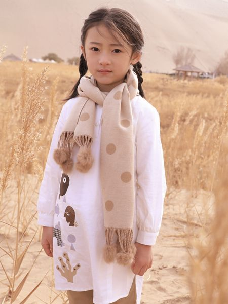 森虎儿童装品牌2020秋冬修身白色连衣裙针织