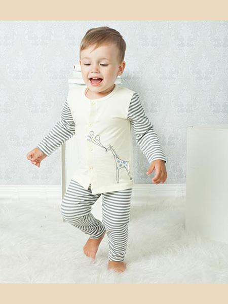 盛凯·安琪童装品牌2020春白色家居服套装横纹