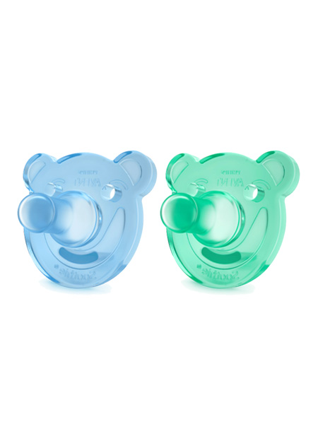 新安怡婴童用品Soothie飞利浦新安怡安抚奶嘴婴儿全硅橡胶美国进口0-3月3月+对装