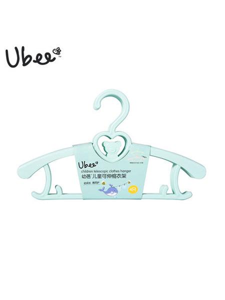 幼蓓婴童用品幼蓓Ubee儿童可伸缩衣架4支装晾衣架粉色/绿色2019新品宝宝衣架