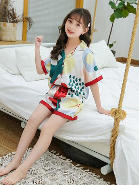 巧兜童装品牌童装女童冰丝睡衣童套装20夏季新款中大童儿童短袖睡服两件套