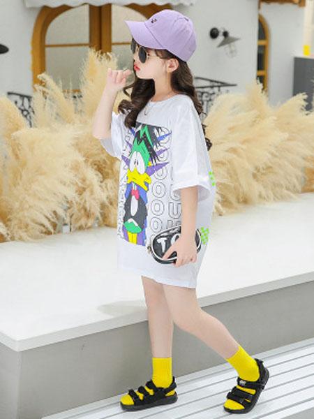 巧兜童装品牌女童短袖T恤2020新款中大童韩版夏装半袖上衣儿童中长款t恤裙