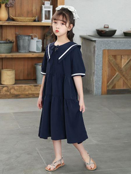 巧兜童装品牌女童夏装2020新款童装女中大童短袖学院风连衣裙洋气夏裙儿童裙子
