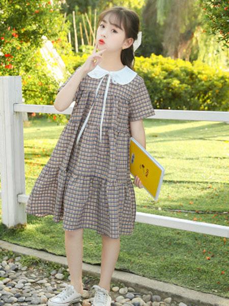 巧兜童装品牌女童连衣裙夏装2020新款小女孩短袖儿童裙子中大童夏季洋气公主裙