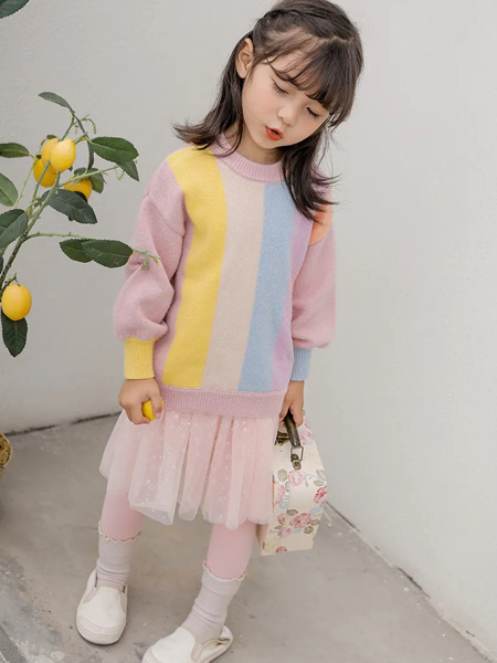 洛小米童装品牌2020秋冬粉色针织衫