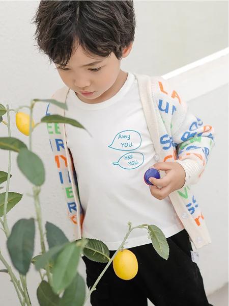 洛小米童装品牌2020秋冬白色圆领T恤