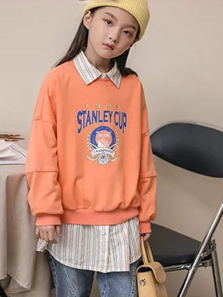 洛小米童装品牌2020秋冬橙色字母卫衣