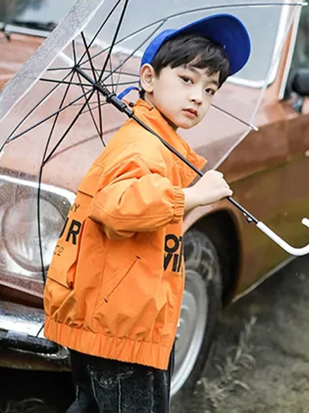 洛小米童装品牌2020秋冬橙色外套