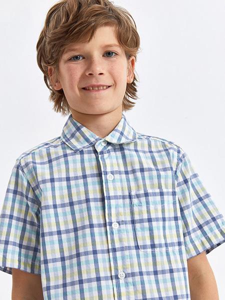 绮童堡童装品牌2020春夏藏蓝色衬衫格纹