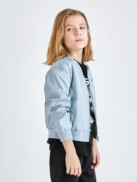 绮童堡童装品牌2020春蓝色外套短款