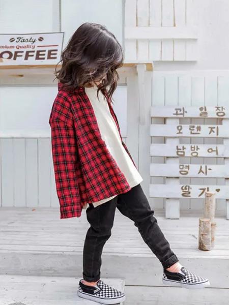 糖麦卡童装品牌2020秋冬红色格纹衬衫外套